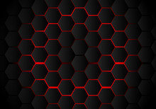 Abstract Black Hexagon Pattern On Red Neon Background Technology Style. Honeycomb.