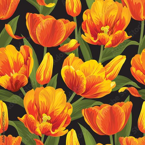 Bezszwowy wzór pomarańczowy tulipan kwitnie tło. Wektor zestaw kwitnący kwiatowy na wakacje zaproszenia, karty z pozdrowieniami i projektowania mody.