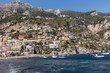 Positano, Italy - June 13, 2017: Positano seen from the sea on Amalfi Coast in the region Campania, Italy