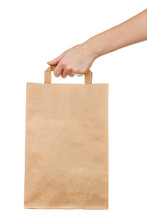 Female Hand Holding Kraft Paper Bag Isolated On White Backgroundю Woman Holding Paper Bag