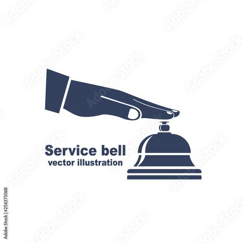 Silhouette male hand pressing service bell Fototapet