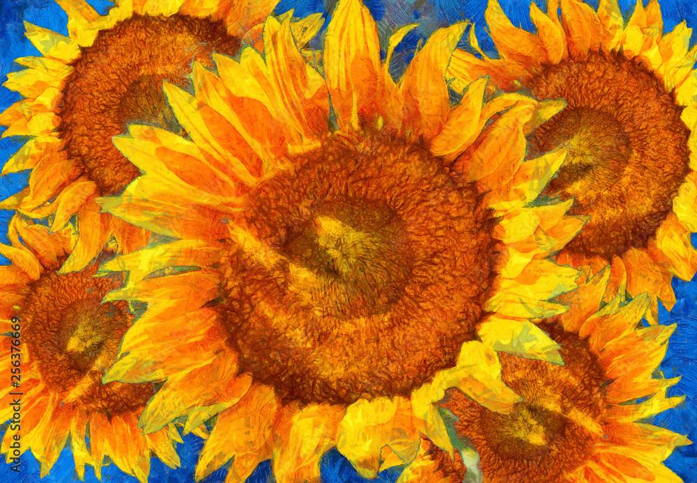 Sunflowers arrangement. Van Gogh style imitation.