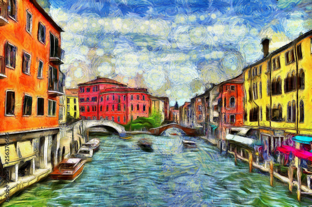 Venetian canal with moving boats, digital imitation of Van Gogh painting style