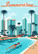 The Girl Swims In The Pool In A Tropical Resort