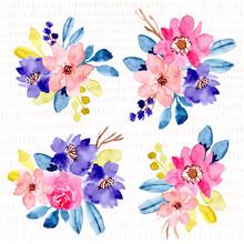 Colorful Watercolor Floral Arrangement Collection