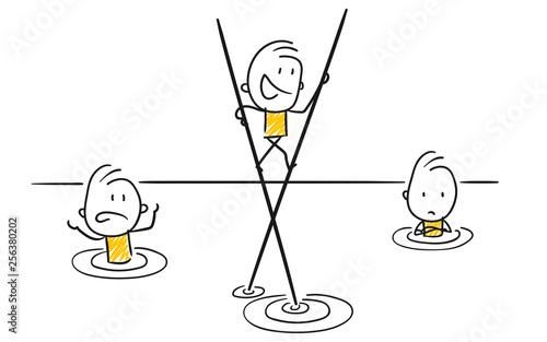 Vászonkép Strichfiguren / Strichmännchen: Idee, Vorteil, Stelzen