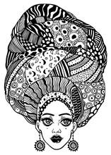 Young Beautiful African Or Indian Girl In Urban Fashion With Traditional Geometric Turban, Head Wrap.