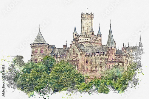 Fotografie, Obraz  Watercolor sketch or illustration of a beautiful view of Marienburg Castle in Germany