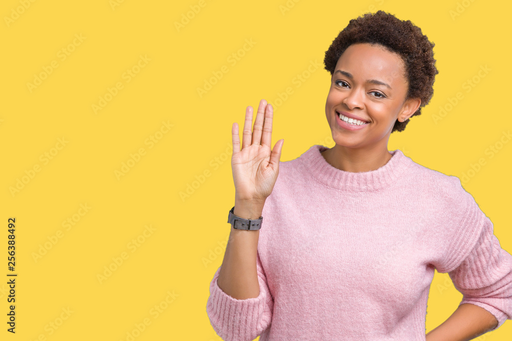 Fototapety, obrazy: Beautiful young african american woman over isolated background Waiving saying hello happy and smiling, friendly welcome gesture