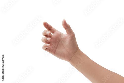 Fotografia man hand holding something on white background