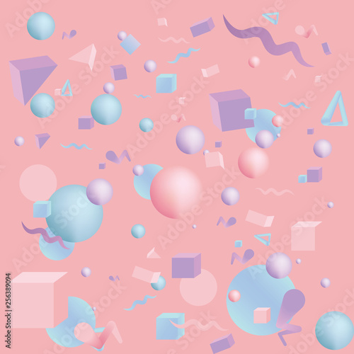 Photo  Kawaii pattern of 3d figures realistic primitives composition  with flying objects and  shapes in motion isolated on blue background