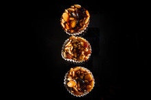 Top View On Three Of Useful Handmade Candies With Sunflower And Pumpkin Seeds
