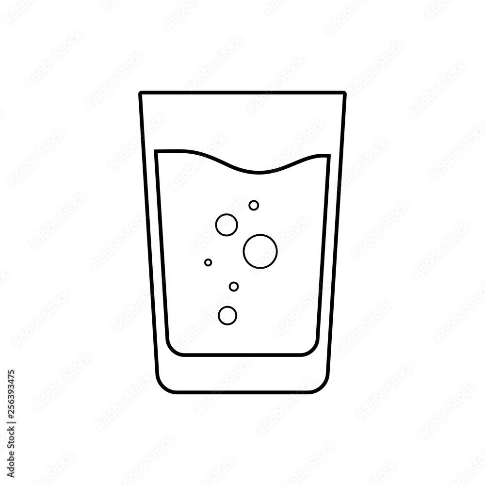 Fototapeta Icono plano lineal vaso de refresco en color negro