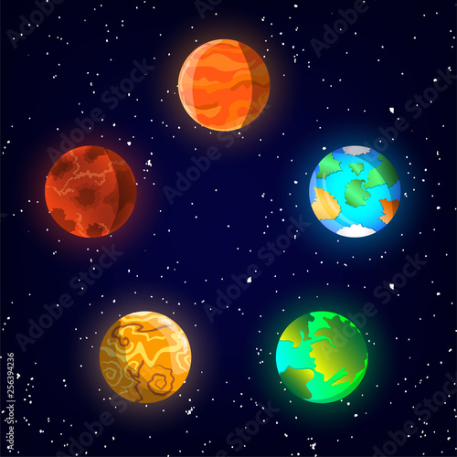 5 planets in space with stars on background Canvas Print
