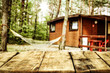 Desk of free space and spring landscape of camping