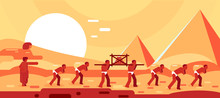 Construction Of Egyptian Pyramids. Slaves Move Blocks For Building. Vector Illustration