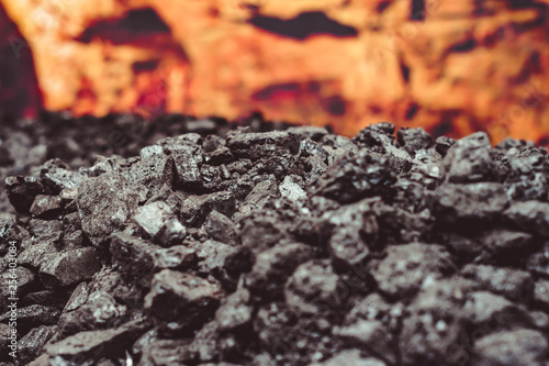 Heap of coal. place where coal stored for selling. Canvas Print