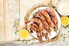 Grilled Big Tiger Shrimps Prawns On White Plate