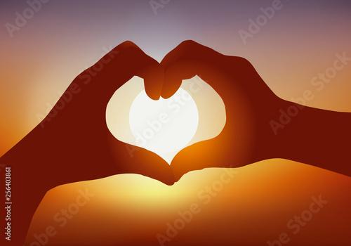 Concept de la déclaration d'amour avec deux mains qui forment un cœur devant un Canvas Print