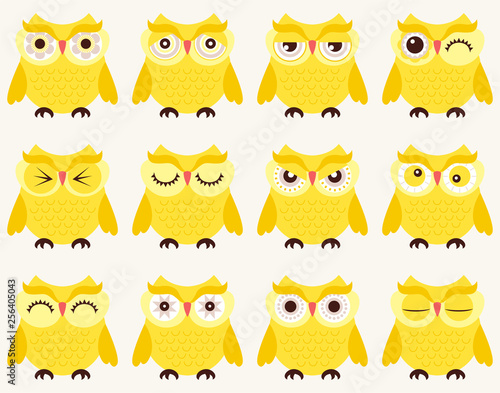 Fotografie, Tablou  set of emoticons of owl birds in cartoon style