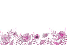 Watercolor Spring Frame With Pink Foliage And Splashes On The White Isolated Background. Beautiful And Elegant Design.