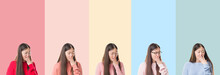 Collage Of Beautiful Asian Woman Over Colorful Stripes Isolated Background Bored Yawning Tired Covering Mouth With Hand. Restless And Sleepiness.