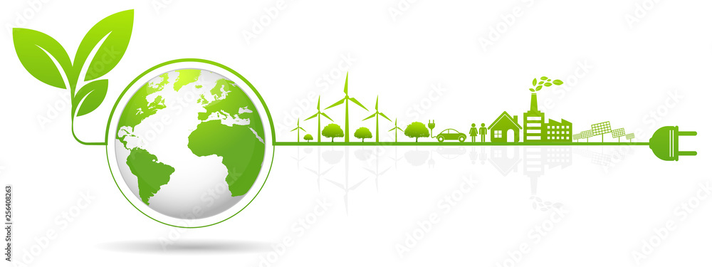 Fototapety, obrazy: Ecology concept and Environmental ,Banner design elements for sustainable energy development, Vector illustration