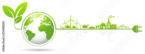 Ecology concept and Environmental ,Banner design elements for sustainable energy Fototapet