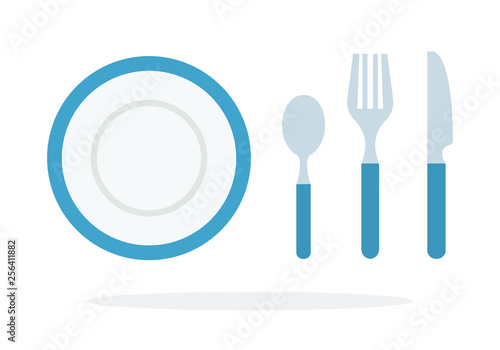 Fotografia, Obraz  Tablespoons teaspoon, fork, knife, plate with blue piping vector flat isolated