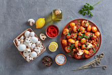 Spanish Garlic Mushrooms On A Clay Plate