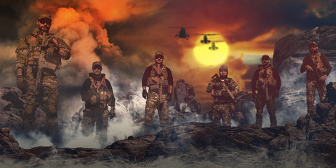 special forces seal team in action