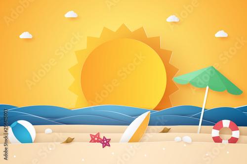 Fototapeta Summer time , sea and beach with stuff  , paper art style obraz