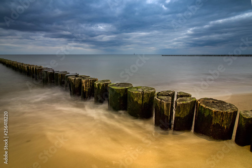 wooden tree trunks in the sea with ocean spray, travel rostock germany Wallpaper Mural