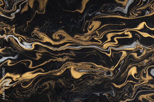 Obraz marble ink paper texture black silver gold - fototapety do salonu