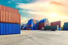 Industrial Container Yard For Logistic Import Export Business,modern Logistics Transportation Scene