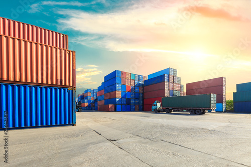 Photo  Industrial Container yard for Logistic Import Export business,modern logistics t