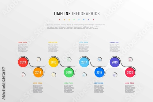 horizontal business timeline with 8 round elements, year indication and text boxes on white background. realistic 3d paper cut infographics template. modern vector company history presentation. eps 10
