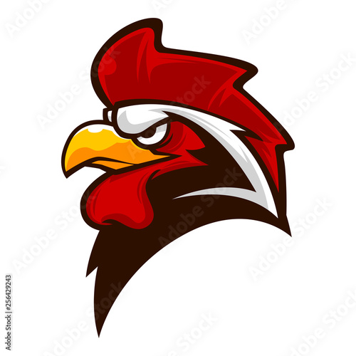 rooster head mascot logo vector illustration Fototapet