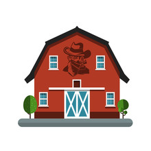 Barn Symbol With Cowboy On Wal...