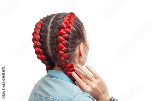 Braided Hairstyle With Red Hair Extensions On A White Background Buy This Stock Photo And Explore Similar Images At Adobe Stock Adobe Stock
