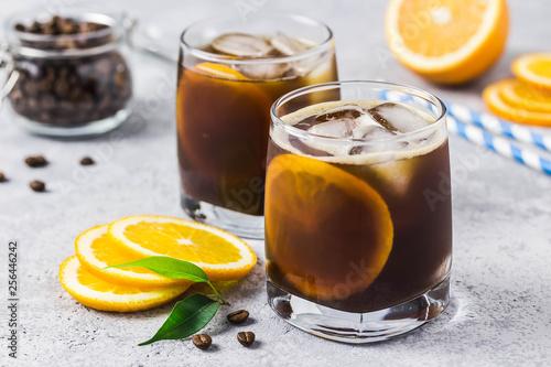 Leinwand Poster Summer refreshing orange iced coffee