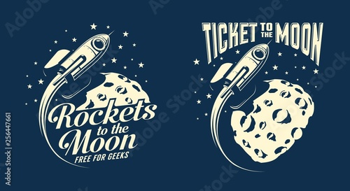 Cuadros en Lienzo Moon posters with a flying rocket