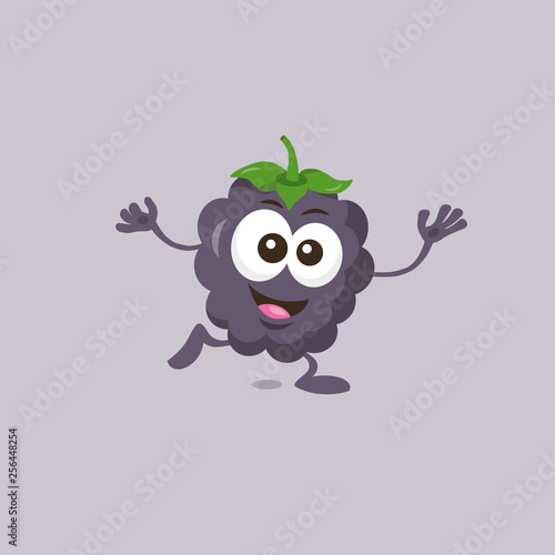 Fotografija  Illustration of cute happy dewberry mascot standing on one foot with big smile isolated on light background