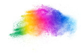 Fototapeta Tęcza - Colorful powder explosion on white background. Abstract pastel color dust particles splash.