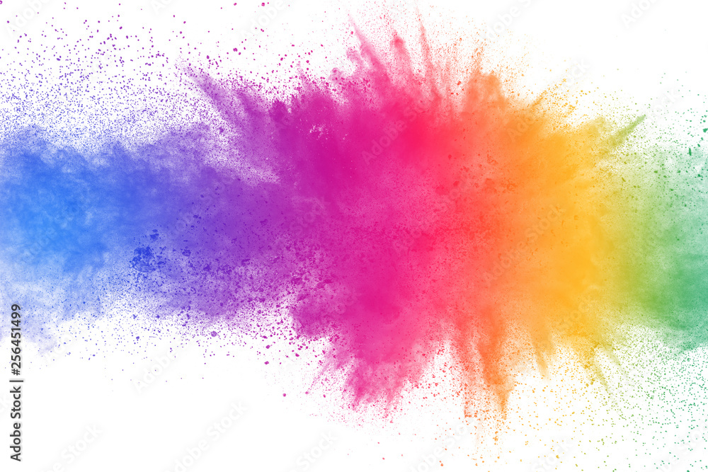 Fototapety, obrazy: Colorful powder explosion on white background. Abstract pastel color dust particles splash.