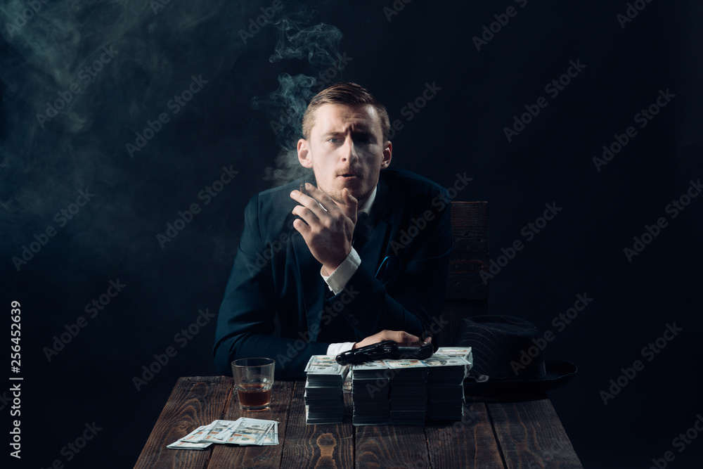 Fototapeta Small business concept. Man in suit. Mafia. Making money. Businessman work in accountant office. Economy and finance. Man bookkeeper. Money transaction. Modern innovations