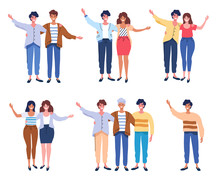 Happy People Group Portrait. Friends Waving Hands, Couples Embracing Each Other Vector Illustration
