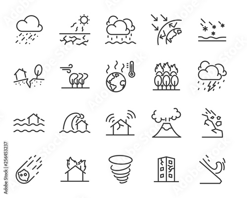 Foto set of natural disaster icons, such as flood, wave, weather, eruption, storm, ho