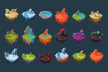 Cartoon Isometric Islands With...