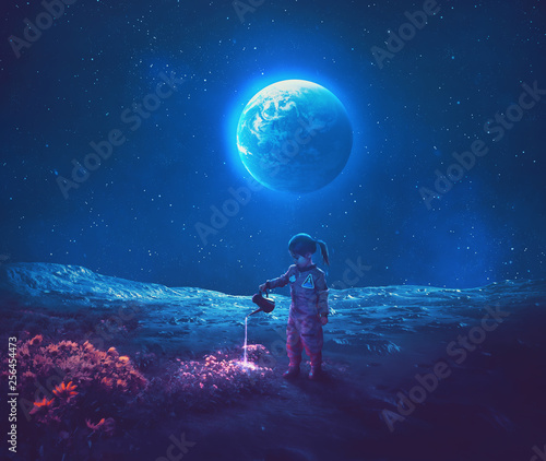Girl pouring water on moon flowers